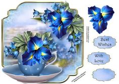 Beautiful Blue Iris Teacup Saucer Shaped Topper on Craftsuprint designed by Anne Lever - This lovely, shaped topper will fit onto an 8x8 card front. It features beautiful blue iris in a teacup and saucer. It has decoupage, two greetings and a blank greetings tile. - Now available for download!