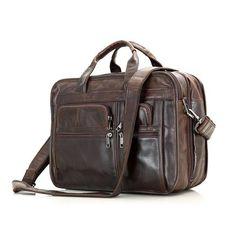 8fb4e1bd6754 ROCKCOW Handmade Full Grain Leather Briefcase Men s Large Travel Shoulder  Messenger Bag Handbags 7093C