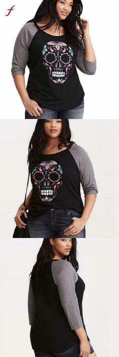 bfdb4472332 Women  spring t-shirts skull printed o-neck baseball t-shirt casual print tees  shirt female tshirt tops plus size xxxl