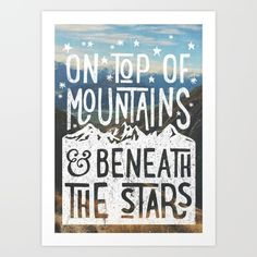 embrace your adventurous side with this vintage style typographic graphic - all photographs are taken from my own personal adventures<br/> <br/> on top of mountains typographic poster - image from hiking in new zealand<br/> <br/> hiking, river, valley, new zealand, outdoors, wilderness, adventure, road trip, typography, retro, vintage