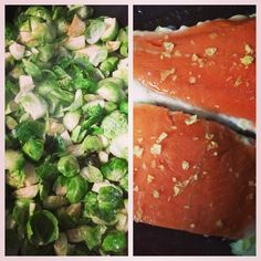 Salmon and Brussels for dinner with citrus falk salt. So good! #cleaneating #eatrealfood #weightloss #paleo #primal #food #whole30 #healthy #fitness