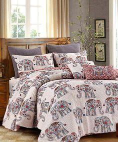 Love this Purple & Off-White Elephant Caravan Five-Piece Comforter Set by Hedaya Home Fashions on #zulily! #zulilyfinds