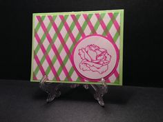 katrine leber made this card.  more homework for an online card class. the background is stamp ink and a stencil, done with a finger dauber.  the rose is a Gina K stamp.