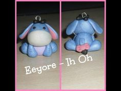 Eeyore Donkey Tutorial for Fimo or Polymer Clay Polymer Clay Miniatures, Fimo Clay, Polymer Clay Projects, Polymer Clay Charms, Polymer Clay Creations, Polymer Clay Art, Polymer Clay Earrings, Clay Crafts, Biscuit