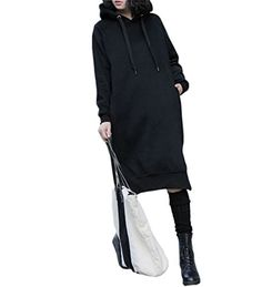 NUTEXROL Womens Thickening Long Fleece Sweatshirt String Hoodie Dress Pullover Plus Size Black M * Click image to review more details.(This is an Amazon affiliate link) Fashion Hoodies, Hoodie Dress, Army Green, Simple Dresses, Dark Grey, Simple Gowns