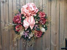 SALE Dusty Rose Victorian Christmas Wreath