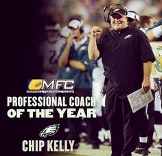 On his one year anniversary #Eagles Chip Kelly gets named coach of the year.