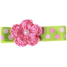pink barrettes | ... Green & Pink Flower Barrette - Free Gift Wrap - Free Shipping Over $75