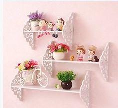 FamilyShop 3x White Wood Filigree Style Wall Hanging Shelf Shabby Chic Kids Bedroom Shelves (V)