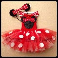 Red and white Minnie Mouse tutu dress SET with ribbon neck strap and HEADBAND EARS sz 9 mo to 7 on Etsy, $39.00