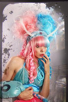 Cosplay Wig Antlers light Pink Blue spiral Curls by CrudeThings