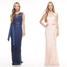 Affordable Lace bow tie long Bridesmaid Dress Navy and Blush