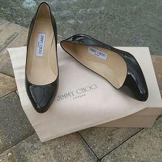 Jimmy Choo Black Vega pumps 38.5 euc Beautiful pair of Jimmy Choo Vega pumps. Blk patent. Sz 38.5. I wear sz 8 and this is sz I needed. It has been my experience that Choos run a little on the small side.  Original box and dust bag included.  No trades, holds, etc. Jimmy Choo Shoes Heels