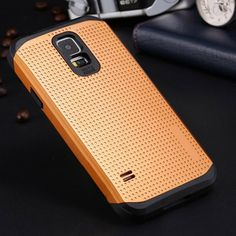 For S5 Top Quality Luxury Slim Cool Armor Back Case For Samsung Galaxy S5 i9600 Dual Layer Super Protect Phone Covers With Logo