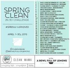 Spring clean in 30 day challenge