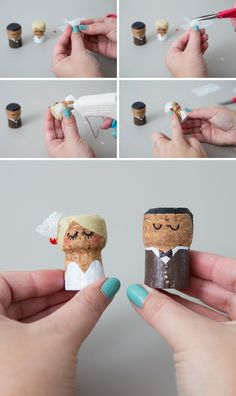 You HAVE To See These DIY, Painted Champagne Cork Bride + Groom! OMG, these DIY champagne cork bride and groom cake toppers are the cutest thing ever! Diy Wedding Presents, Wedding Present Ideas, Wedding Gifts For Friends, Wedding Gifts For Bride And Groom, Bride Groom, Champagne Cork Crafts, Champagne Corks, Wine Cork Crafts, Make Your Own Wedding Cakes