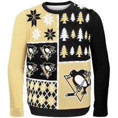 Pittsburgh Penguins Black Busy Block Ugly Sweater (So bad it's good -- would totally wear it! At least to the bus stop in the morning...)