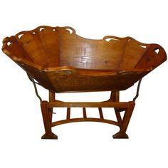 century Italian baby cradle found in Tuscany made of fruit wood. Outside wood has a carved floral motif with iron hardware for rocking on each side. Antique Beds, Antique Furniture, Cradles And Bassinets, Baby Cradles, Art Nouveau, Rock A Bye Baby, Vintage Nursery, Baby Carriage, Baby Furniture