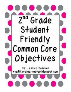 2nd Grade Student Friendly ELA Objectives {California Common Core}