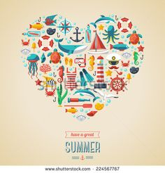 Summer concept. Flat icons arrange in the form of heart. Vector illustration. Marine symbols. Sea leisure sport.