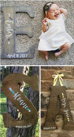 Such a cute baby nursery decor idea! Big wooden name initial with their name handlettered onto it. There's even cute little arrows to give it a little personality. You could easily DIY too! #babynursery #nurserydecor #ad