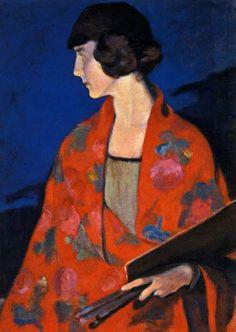 """Elisabeth Chaplin,""""Autoritratto con scialle rosso"""",1912,Galleria d'Arte Moderna,Palazzo Pitti,Firenze"""