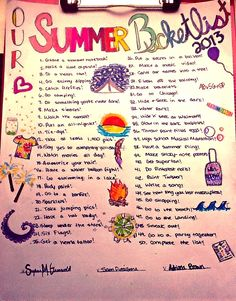 Summer Bucketlist:) soo want to do them! (Well, most)