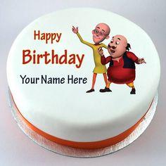 Happy Birthday Motu Patlu Cute Kids Cake With Your Nam - Birthday Cake Vanilla Ideen Cartoon Happy Birthday, Happy Birthday Kind, Birthday Wishes For Kids, Funny Birthday Cakes, Birthday Cake Maker, Birthday Cake Write Name, Birthday Cake Writing, Cake Name, Doodle