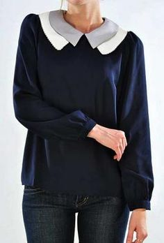 Personal Assistant Long Sleeve Double Layer Collar Top in Navy | Sincerely Sweet Boutique