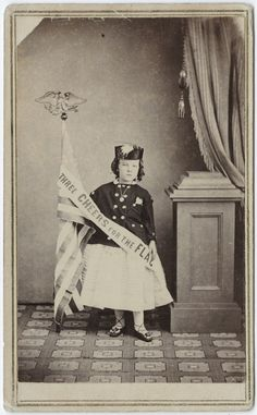 "ca. 1855-95, [carte de visite portrait of a young child with a banner, ""three cheers for the flag""], James Girard Smith via the ..."