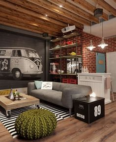 The basement room has a cool, grungy and slightly kitsch style–complete with a bar–that rings perfect for a man-den.