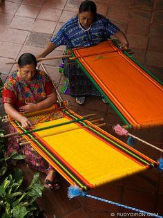 These ladies were making beautiful cloth Mayan Weavers at Work, Antigua Guatemala