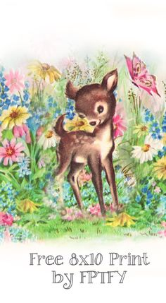 Art Print: Adorable 8x10 Vintage Fawn - Free Pretty Things For You