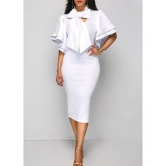 Rotita White Tie Neck Flare Sleeve Sheath Dress (895 UAH) ❤ liked on Polyvore featuring dresses, white, white sheath dresses, white bell sleeve dresses, short-sleeve dresses, short sleeve midi dress and bell sleeve dress