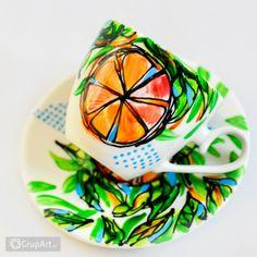 Grupart.pl - Filiżanka Pomarańcza - Wnętrze - Ceramika Plates, Tableware, Licence Plates, Dishes, Dinnerware, Griddles, Tablewares, Dish, Place Settings