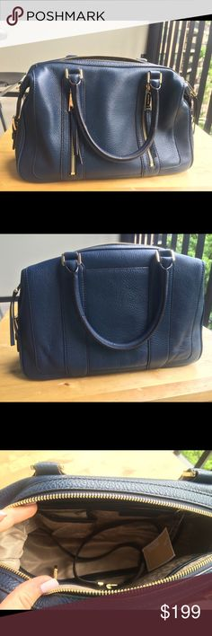 Michael Kors LG Satchel in Navy Michael Kors Julia Leather Large Satchel in Navy Color. Super classic! 100% Authentic and new with tags!  Michael Kors Bags Satchels