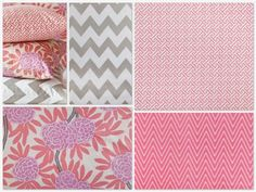 Custom Crib Bedding - 2 piece Set, Berry, coral and gray. $520.00, via Etsy.