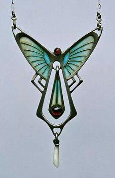 Art Nouveau Pendant ca.1905 jewelry accessories  aqua teal turquoise design