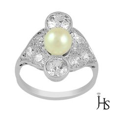 """900 Platinum 2.00CT Round Diamond &Cultured Pearl Old Miner """"ART DECO"""" Ring -JHS #WomensFancyPearlRingJHS"""