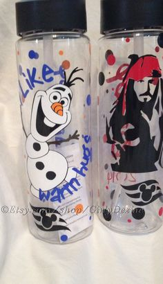 Personalized character 24oz PBA Free Sports Water Bottle on Etsy, $15.00