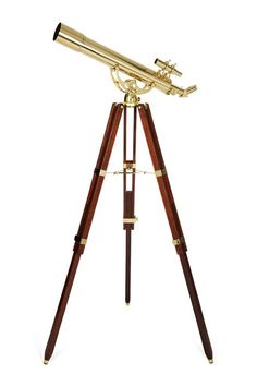 The Ambassador Brass Refractor Telescope is an ideal decorative showpiece for the home, office, or anywhere you may want to incorporate its vintage style. Featuring a classic Altazimuth Mount and beautiful mahogany wood tripod, the Ambassador telesco Celestron Telescopes, Warehouse Plan, Telescopes For Sale, Map Shop, Mahogany Stain, Tripod Lamp, Messing, Brass, Vintage Style