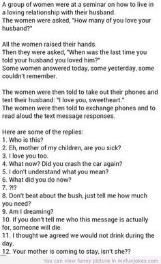 Text I love you to your husbands hear are the responses — funny sms | My Funny Jokes