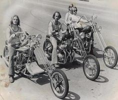 3 Old School Choppers: Here are 3 choppers we built in the late 70's when I had a shop in Bellflower, CA. The front one is a shovel. The air spoil in the front was a levered