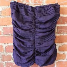 EUC the Limited Women's Sz Med purple tube top EUC The Limited Women's SZ Med Purple Ruching & Ruffle on Center and Side Tube Top Blouse The Limited Tops