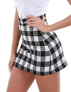 cde338d12aa FISOUL Women s High Waist Bodycon Mini Skirt School Girl Plaid Uniform Skirt  Black S Plaid Uniform