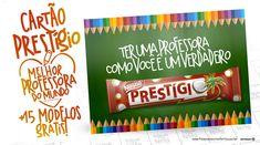 Procurando uma lembrancinha barata e linda? O cartão Prestígio Dia dos Professores é ideal para você imprimir em casa e dar de presente! Clique para baixar!