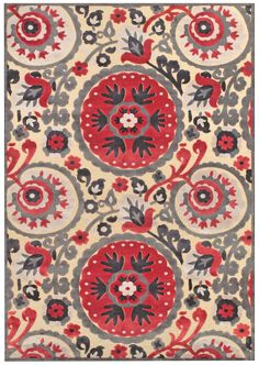 Loomed art silk rug with a multicolor suzani medallion motif. Oriental, Indoor Rugs, Textiles, Grey Rugs, Joss And Main, Throw Rugs, Colorful Rugs, Color Patterns, Pattern Ideas