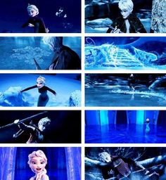 "Elsa and Jack.  OMG the last picture of Jack made me crack up xD Elsa's there being all cool and dramatic and then the next picture is of Jack going, ""Whoa, tree branch. Hi tree branch. Ow, that hurt, Mr. Tree Branch.""  XD"