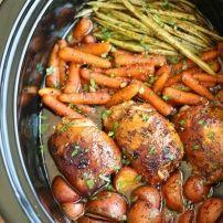 Slow cooker honing knoflook kip met groenten
