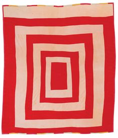 """Quinnie Pettway, born """"Housetop,"""" ca. corduroy, 82 x 74 inches. (Quilts Of Gees Bend) Gees Bend Quilts, Deep Foundation, Make Do, Red And White Quilts, American Quilt, Log Cabin Quilts, Quilt Binding, Textiles, Vintage Quilts"""